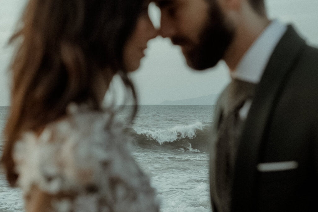 Frame from a visual poetry video created by an alternative wedding videographer representing a couple