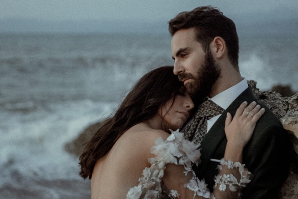 Alternative couple filmed in the blue hour by a non-traditional wedding videographer