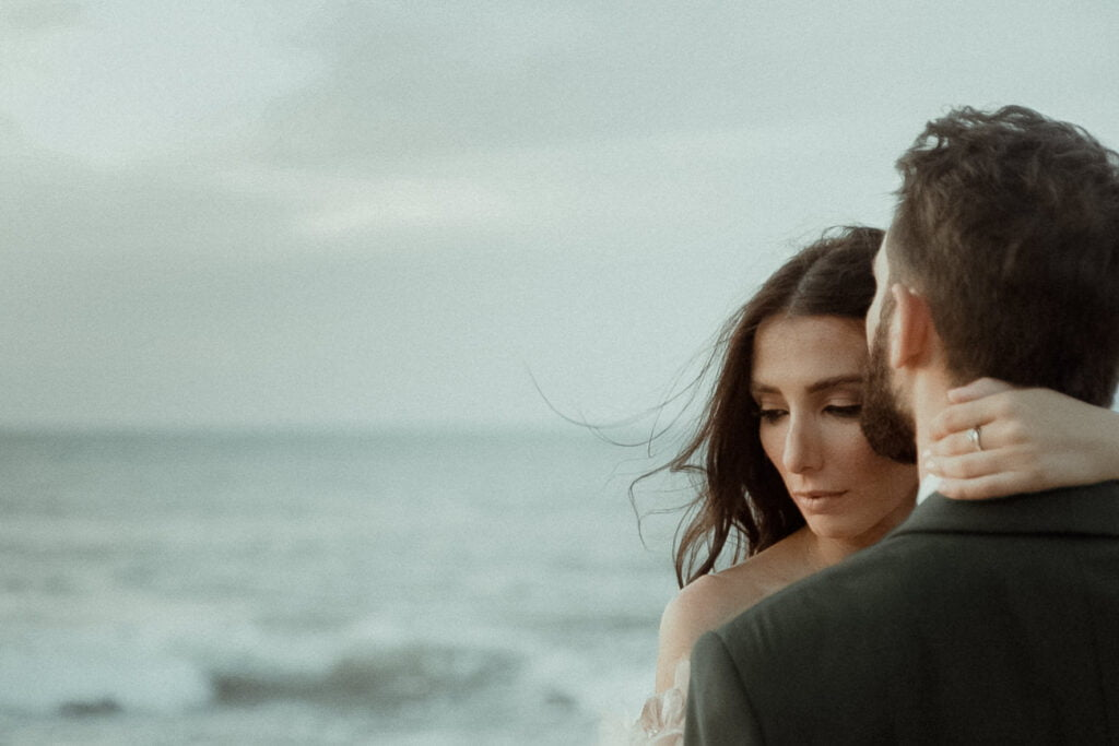 A couple in a visual poetry wedding film by a creative wedding videographer
