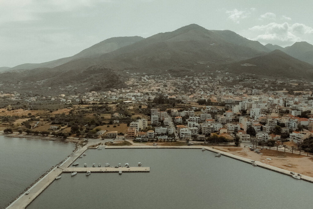 Aerial view of Kyparissia by a wedding videographer