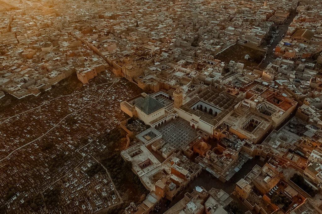 Morocco Marrakech Medina aerial view