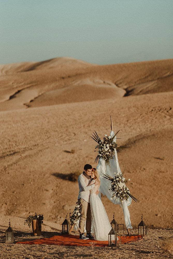 Morocco Elopement Wedding Ceremony in Agafay Desert