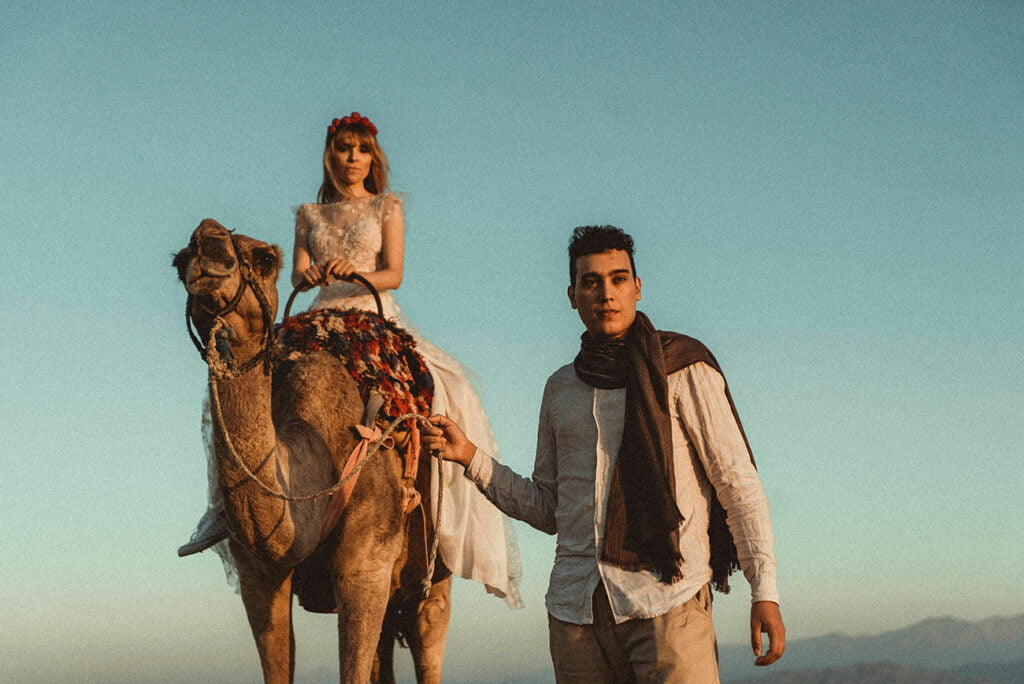 Wedding Couple in Morocco with a camel