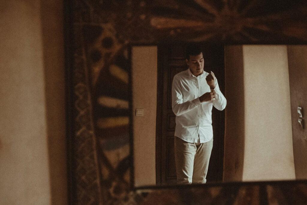 Groom getting ready in a Marrakech Riad
