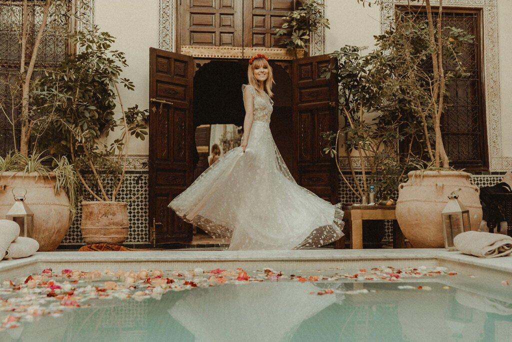 Elopement Bride dancing in a Marrakech Riad
